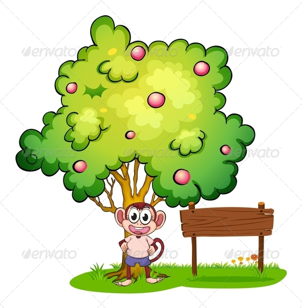 GraphicRiver Monkey under tree with empty wooden sign 7869804