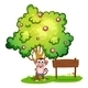 Monkey under tree with empty wooden sign - GraphicRiver Item for Sale