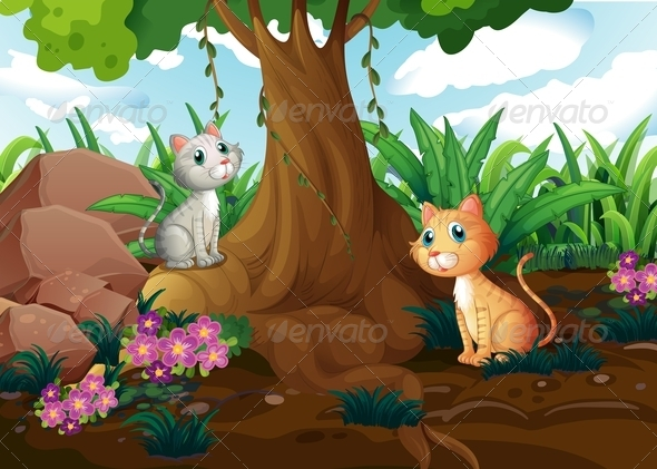 GraphicRiver Cats Under Tree 7869827