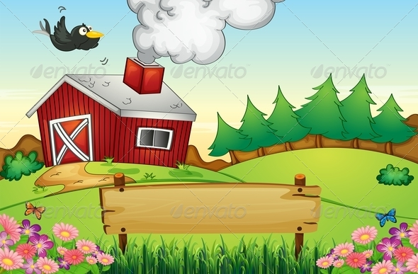 GraphicRiver Farm with empty signboard 7869839