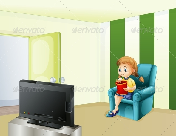 GraphicRiver Girl watching TV while eating 7869840
