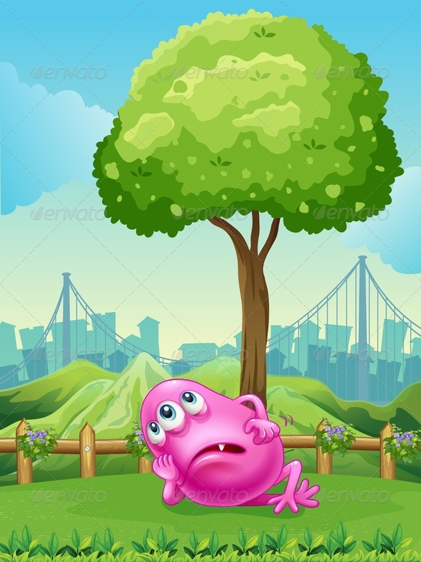 GraphicRiver Tired pink monster under tree 7869843