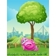 Tired pink monster under tree - GraphicRiver Item for Sale