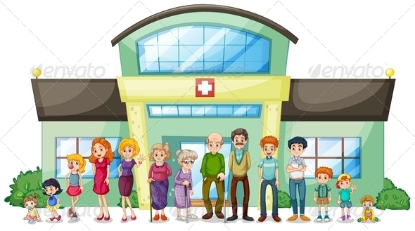 GraphicRiver Big family outside the hospital 7869845