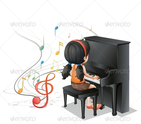 GraphicRiver Girl playing piano 7869853