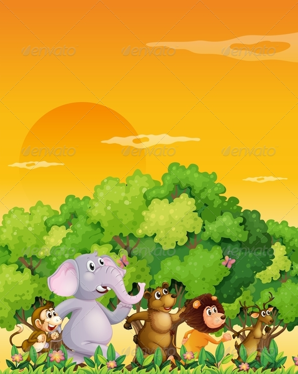GraphicRiver Group of animals walking through the forest 7869856