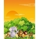 Group of animals walking through the forest - GraphicRiver Item for Sale