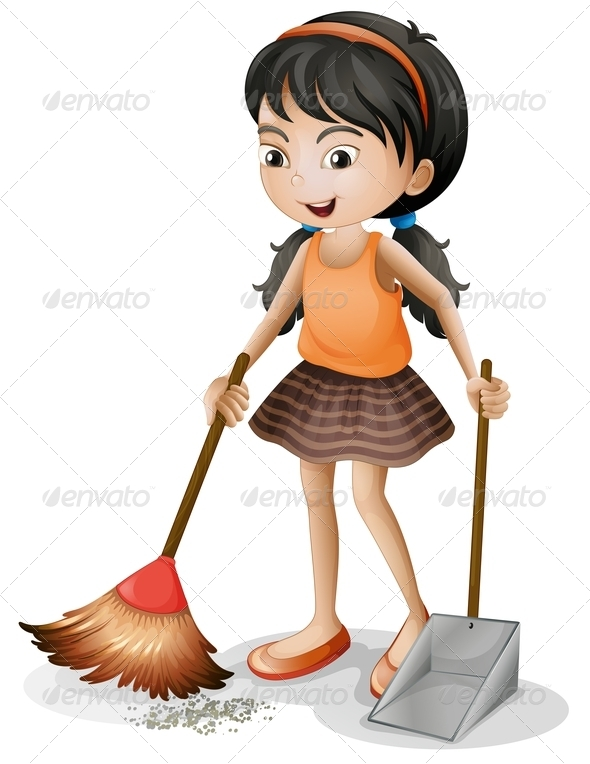 GraphicRiver Girl Sweeping 7869866