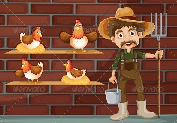 GraphicRiver Farmer with Hens 7869880