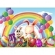 Bunnies and Colorful Eggs with Rainbow - GraphicRiver Item for Sale