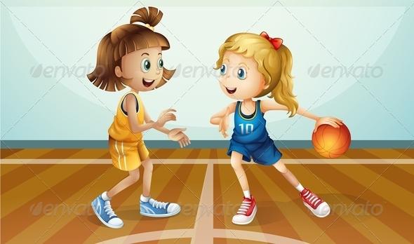 GraphicRiver Girls Playing Basketball 7869909