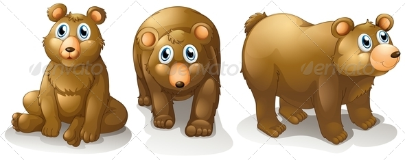 GraphicRiver Three brown bears 7869993