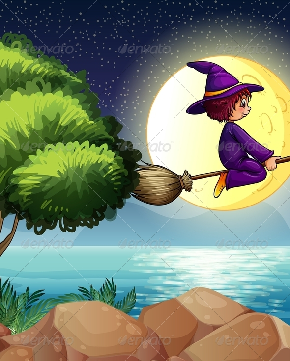 GraphicRiver Witch flying on broom in the night 7870003