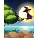 Witch flying on broom in the night - GraphicRiver Item for Sale