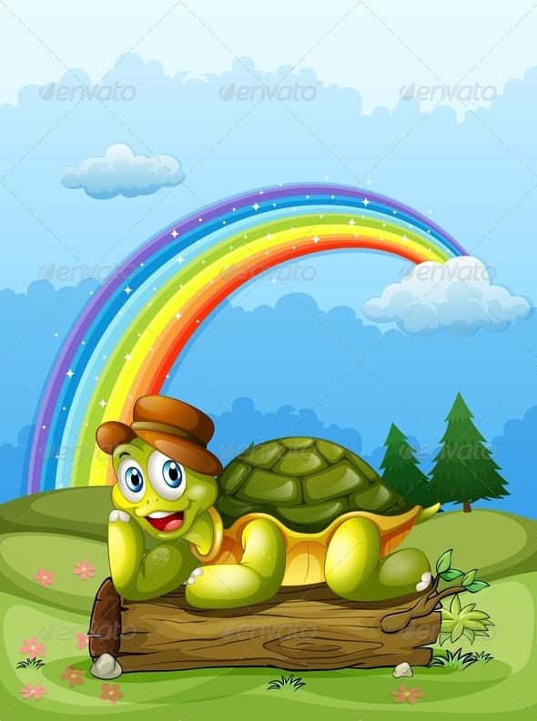 GraphicRiver Happy turtle and rainbow 7870081