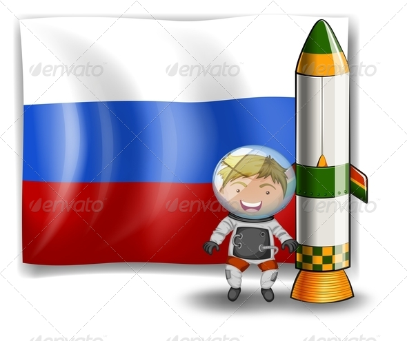 Explorer and Rocket with Russian Flag