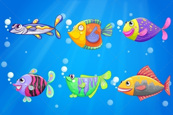 GraphicRiver Six colorful fish 7870137