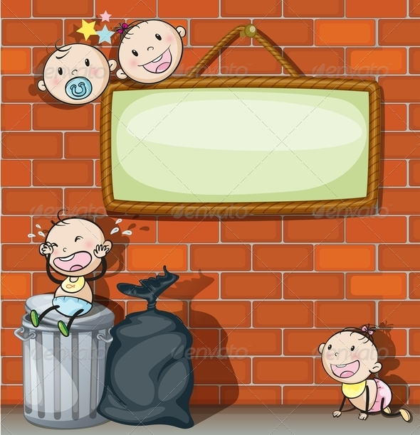 GraphicRiver Empty Signboard with Babies 7870143