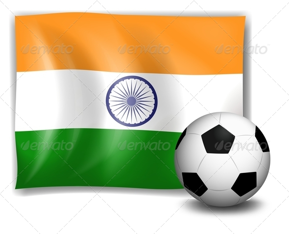 Soccer ball in front of Indian flag