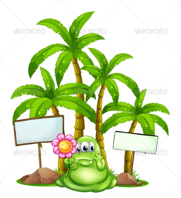 GraphicRiver Monster with flower palm trees and empty signs 7870167
