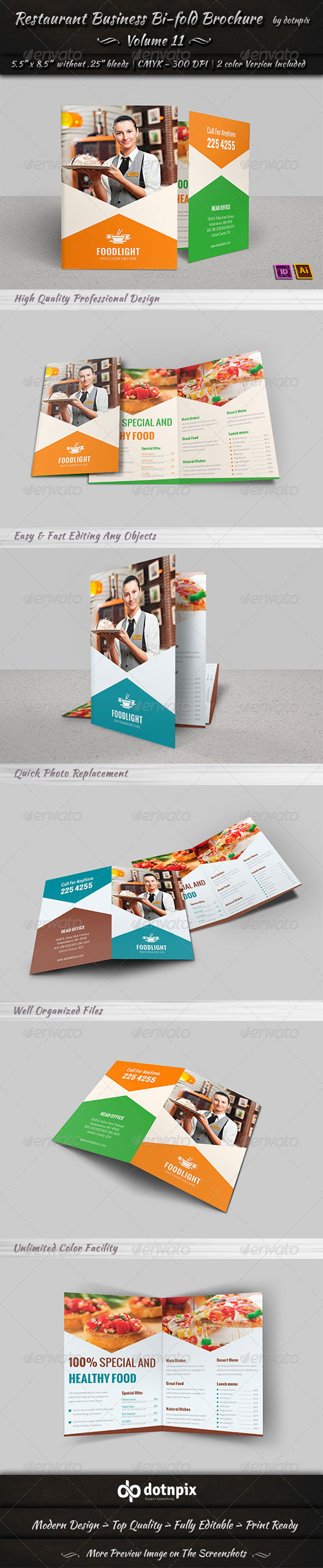 GraphicRiver Restaurant Business Bi-Fold Brochure Volume 11 7870208