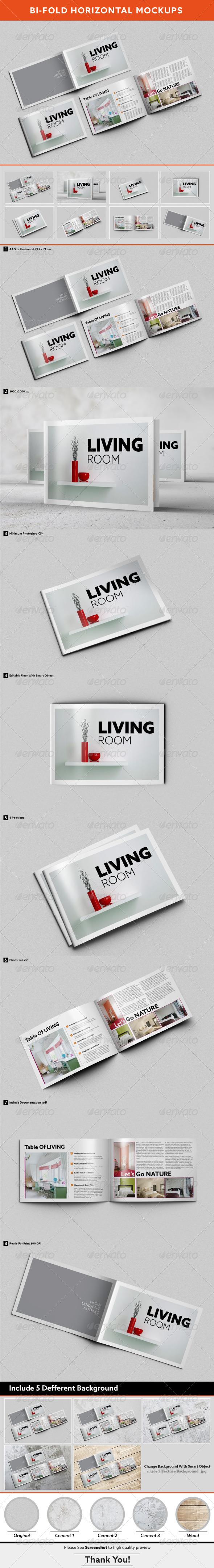 GraphicRiver Bi-fold Horizontal Brochure Mockups 7870258