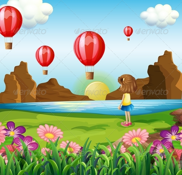 Girl watching balloons