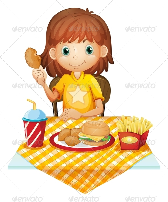 GraphicRiver Girl eating fast food 7870432