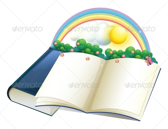 GraphicRiver Storybook with rainbow and plants 7870436