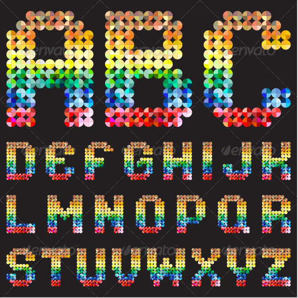GraphicRiver Colorful Mosaic Alphabet 7870442