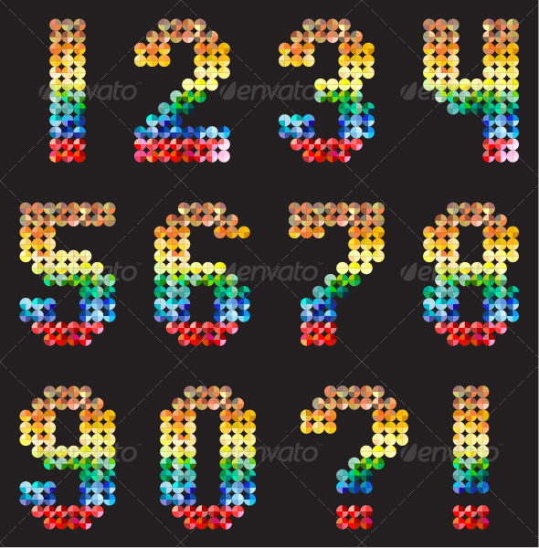GraphicRiver Numbers Alphabet from Multicolored Mosaic 7870450
