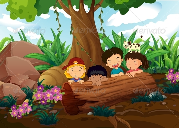 GraphicRiver Kids playing in the woods 7870877