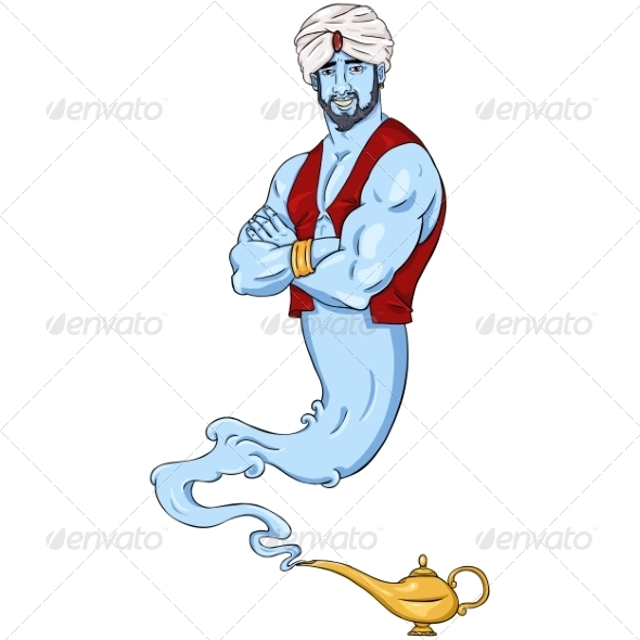GraphicRiver Cartoon Genie and Magic Lamp 7870901