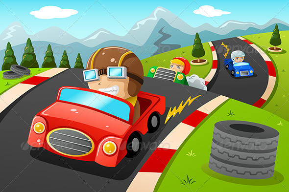 GraphicRiver Kids in a Car Racing 7871019