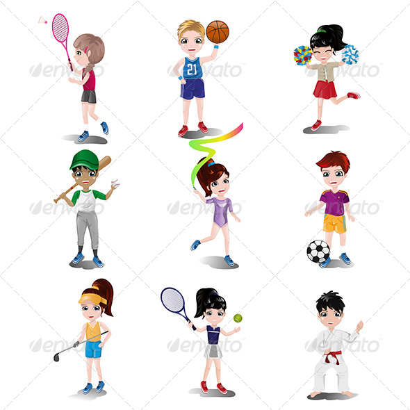 GraphicRiver Kids Exercising and Playing Different Sports 7871061