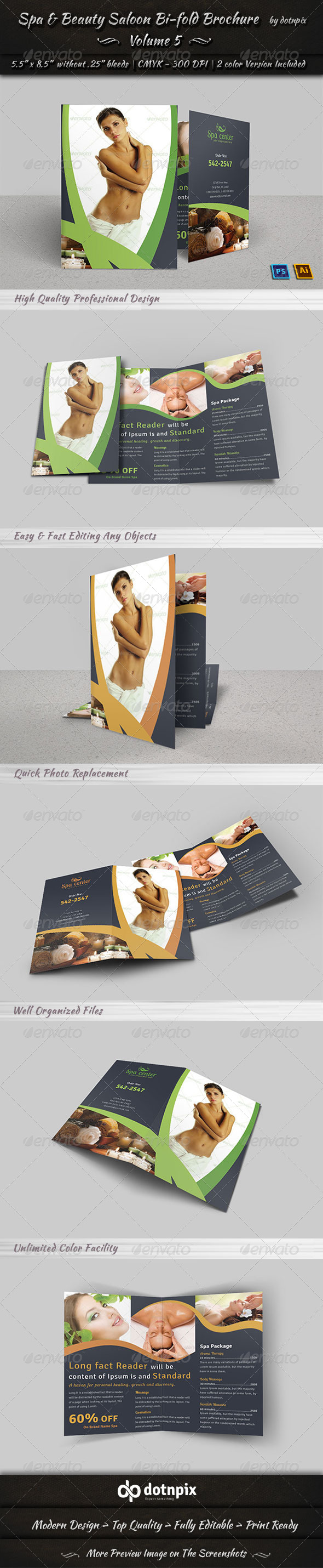 Spa & Beauty Saloon Bi-fold Brochure Volume 5