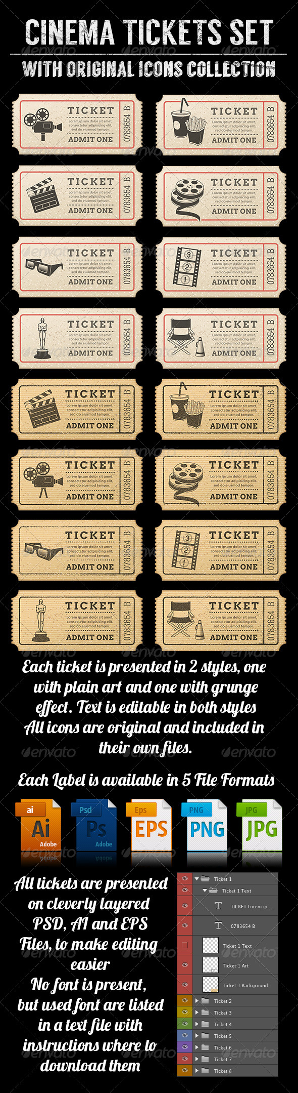 GraphicRiver Cinema Tickets Templates 7864831