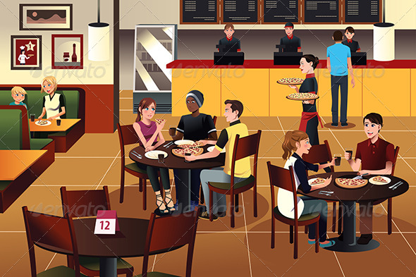 GraphicRiver Young People Eating Pizza Together in a Restaurant 7871681