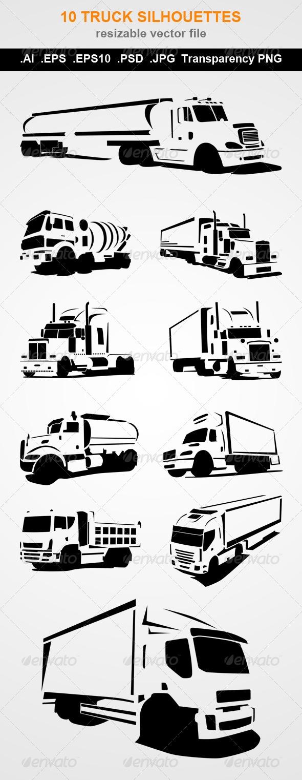 GraphicRiver 10 Truck Silhouettes 7871696