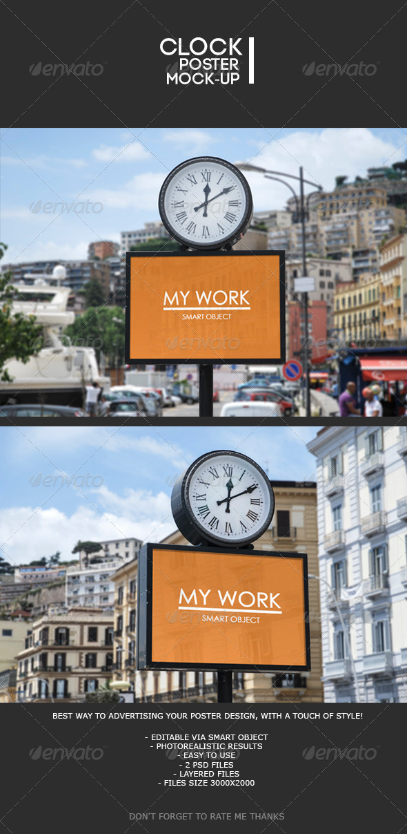 GraphicRiver Street clock poster Mock-Up 7859139