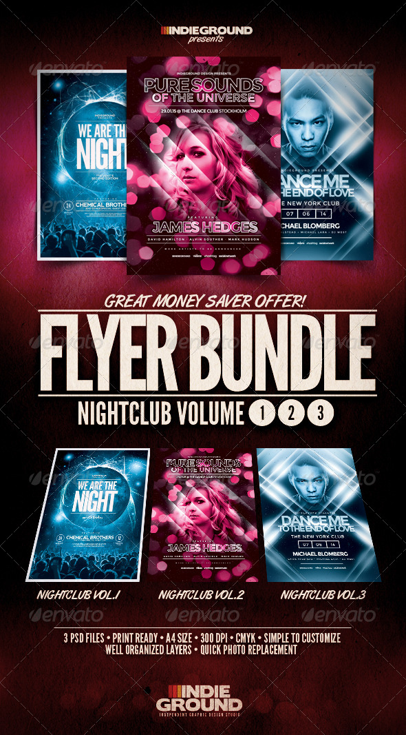 Nightclub Flyer/Poster Bundle Vol. 1-3 - Clubs & Parties Events