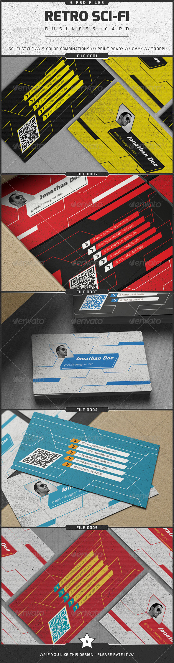 GraphicRiver Retro Sci-Fi Business Card 7871919