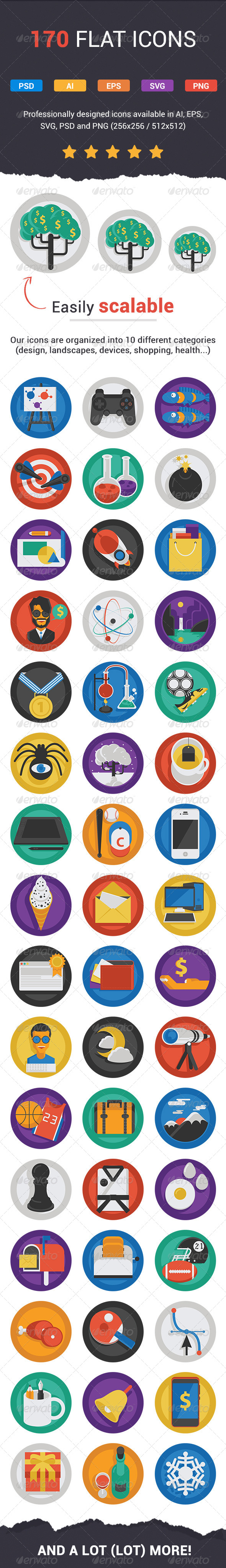 GraphicRiver Flatistic 170 Trendy Flat Icons 7855746