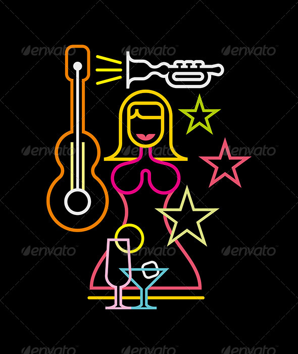 GraphicRiver Night Club Neon Sign Illustration 7872387