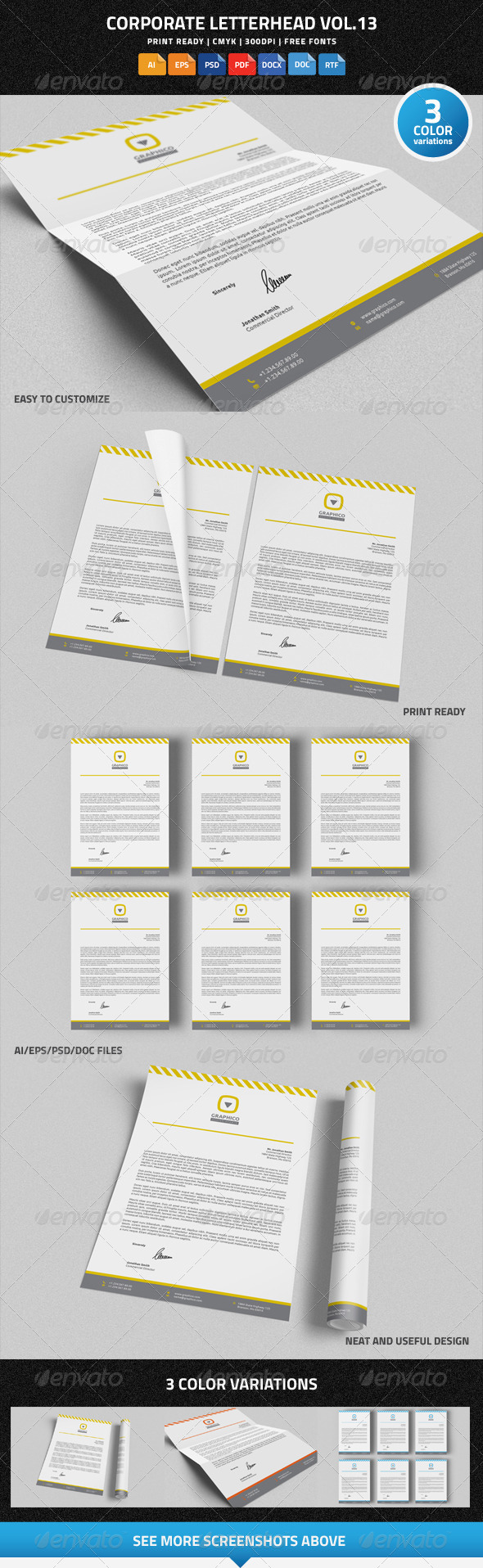 Corporate Letterhead Vol.13 with MS Word DOC DOCX