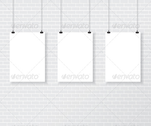 GraphicRiver Three White Posters on Brick Wall 7872916