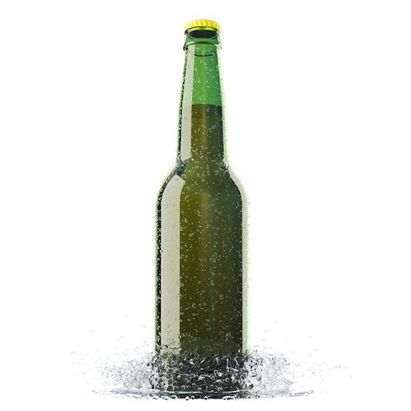 3DOcean Beer Bottle with Water Drops and Water Splash 7872993