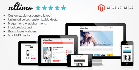 Ultimo - Fluid Responsive Magento Theme - Ultimo is a premium Magento theme with advanced admin module. It's extremely customizable and fully responsive. Can be used for every type of store.