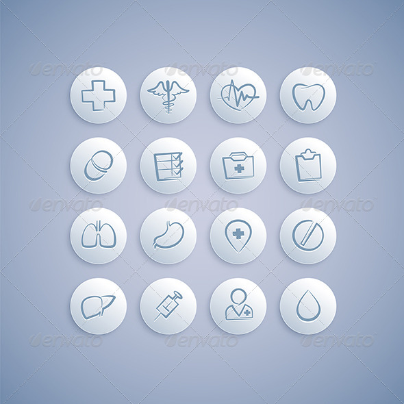 GraphicRiver Set of Medical Icons on Pills 7871990
