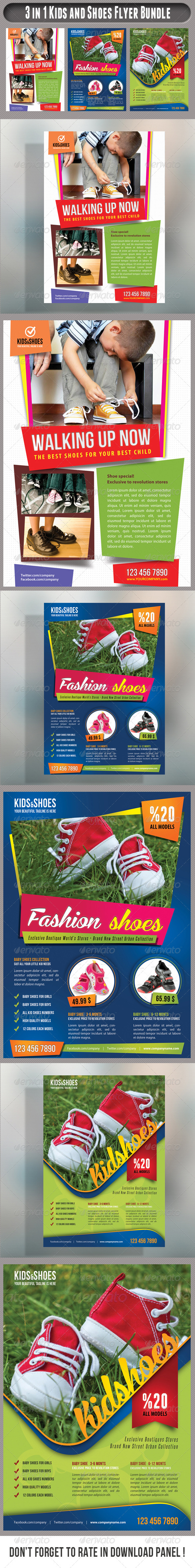 GraphicRiver 3 in 1 Kid And Shoes Flyers Bundle 01 7873851